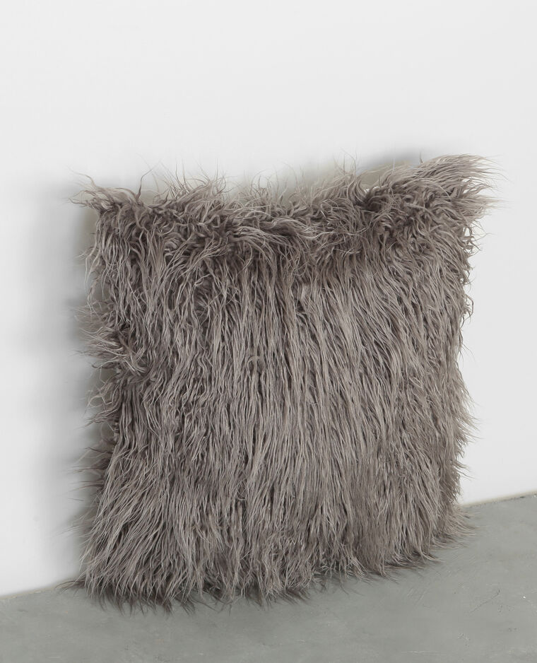 Coussin longs poils gris anthracite