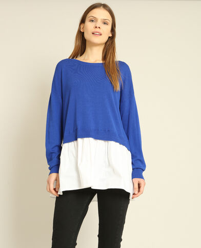 Pull chemise bleu