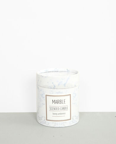 """Bougie parfumée """"Honey"""" marbrée blanc cassé"""