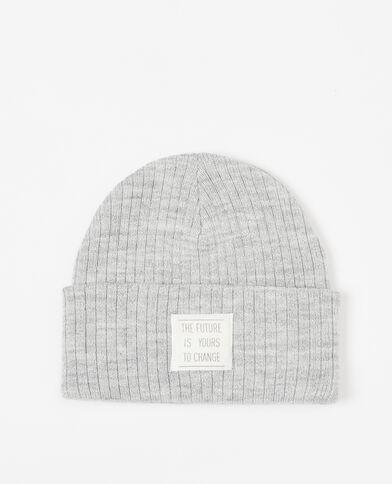 Bonnet lurex à patch gris