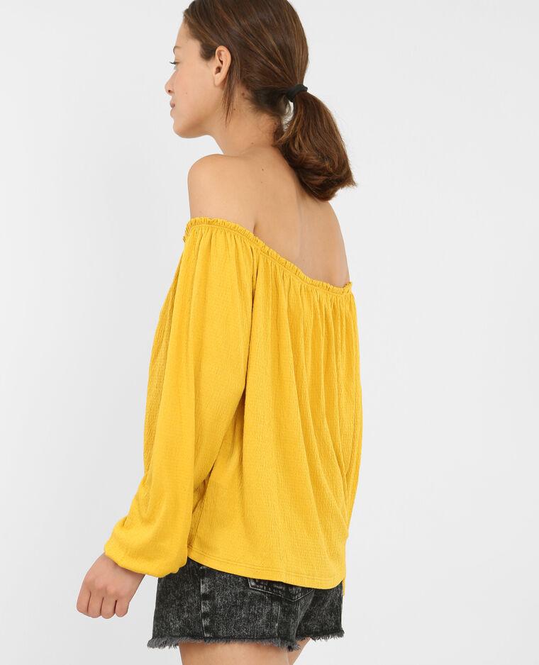 Blouse col bardot jaune