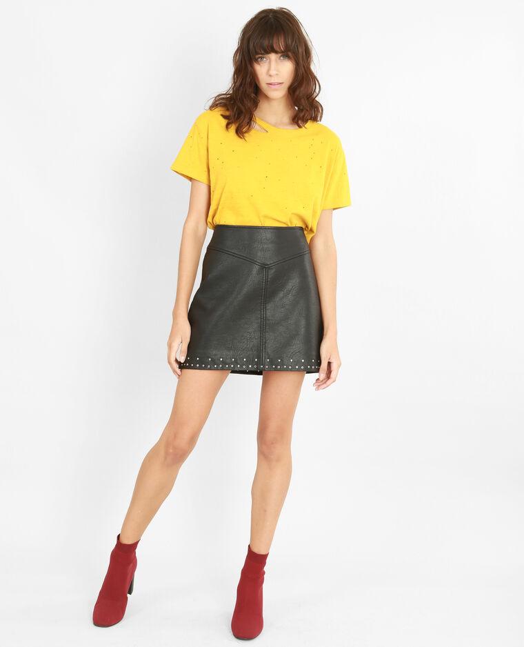 T-shirt destroy jaune moutarde