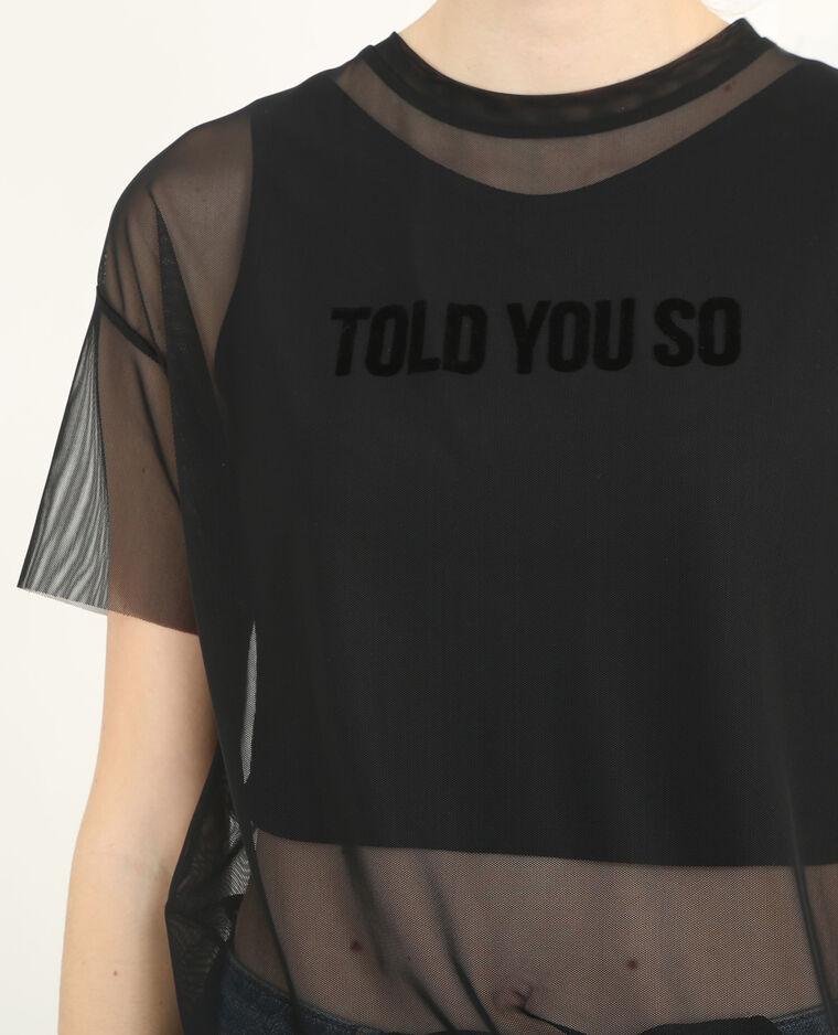 T-shirt resille 2 en 1 noir