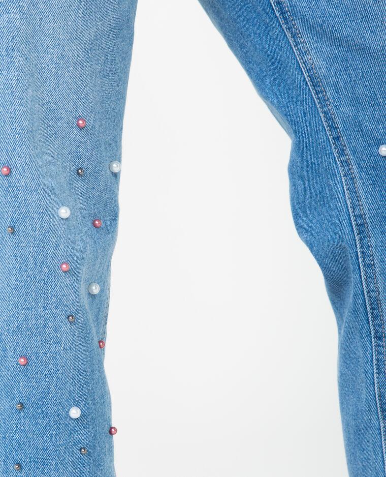 Jean mum à perles bleu denim