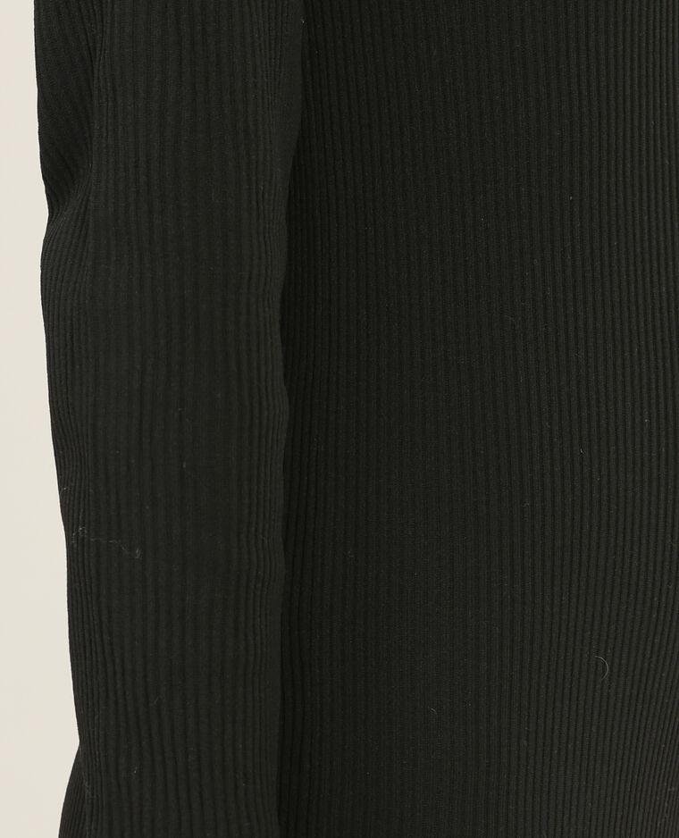 Robe côtelée à volants noir