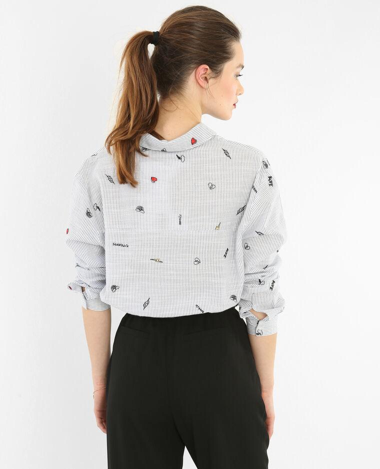 Chemise à rayures brodée blanc
