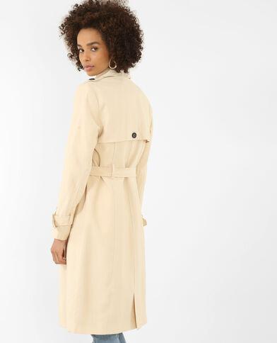 Trench-coat long beige ficelle