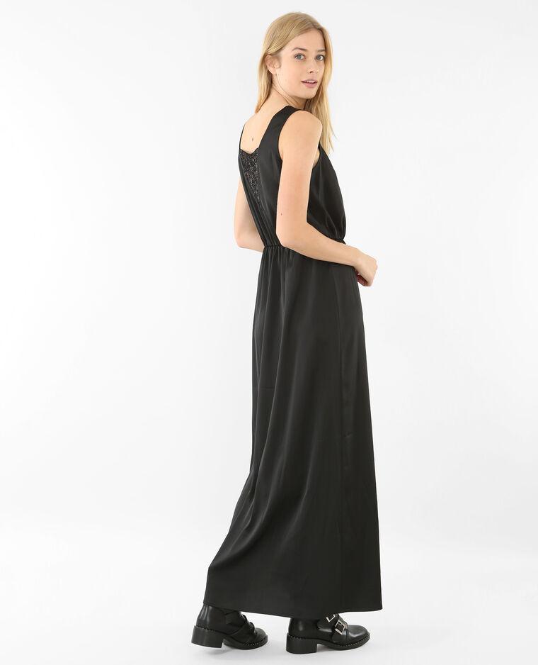 Robe longue satinée noir