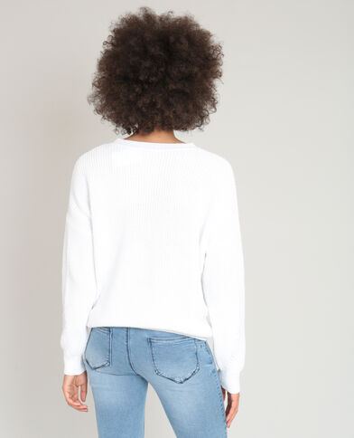 Pull à lacets blanc