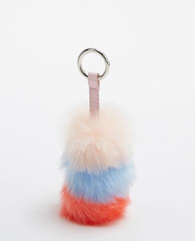 Porte-clés fausse fourrure bleu