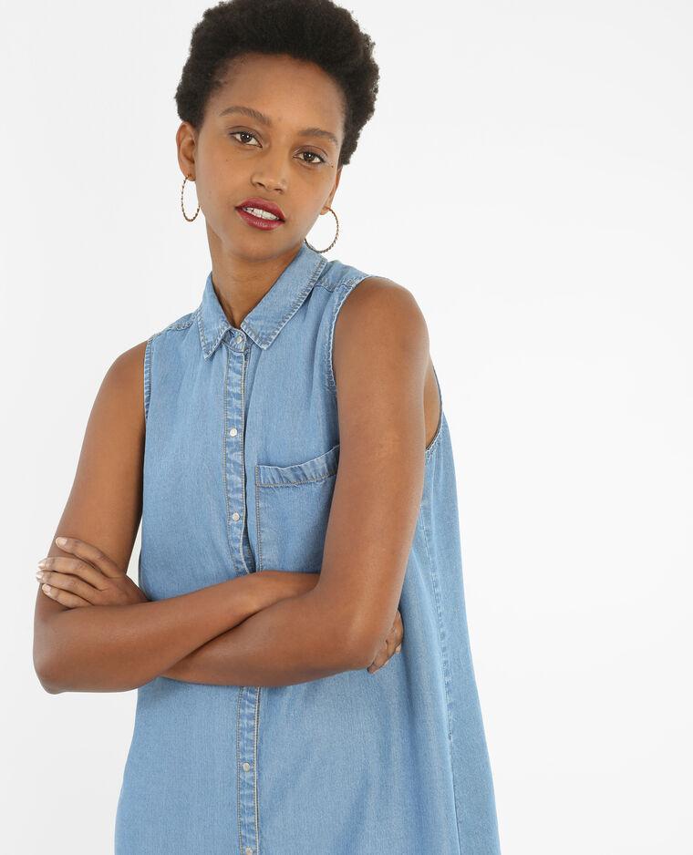 Robe chemise sans manches bleu