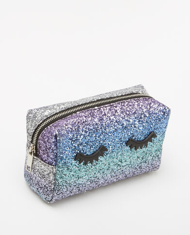 Trousse de maquillage glitter bleu