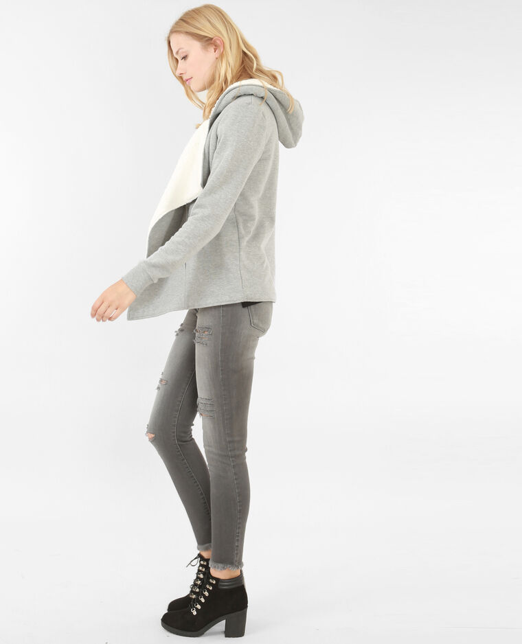 Gilet sweat fourré gris chiné
