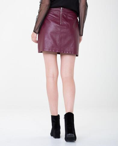 Mini jupe en simili cuir grenat