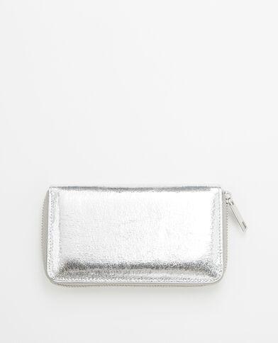 Petit portefeuille compagnon métallisé gris
