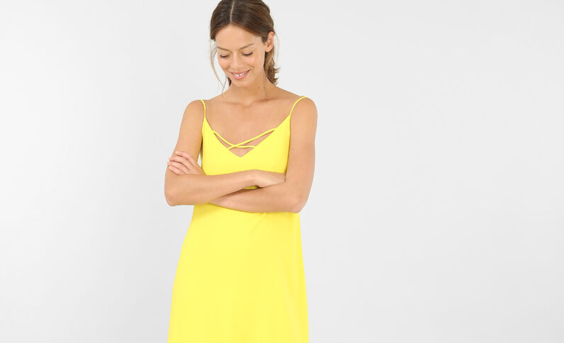 Robe croisée jaune
