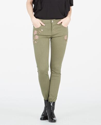 Pantalon skinny brodé kaki