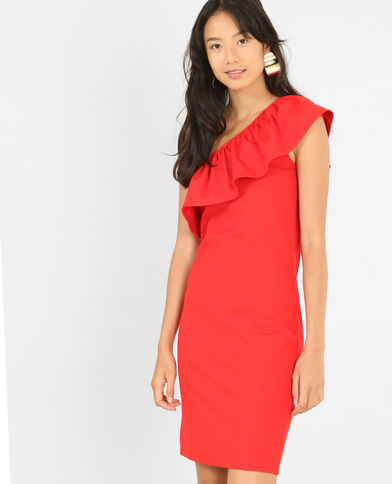 Robe bodycon one shoulder rouge