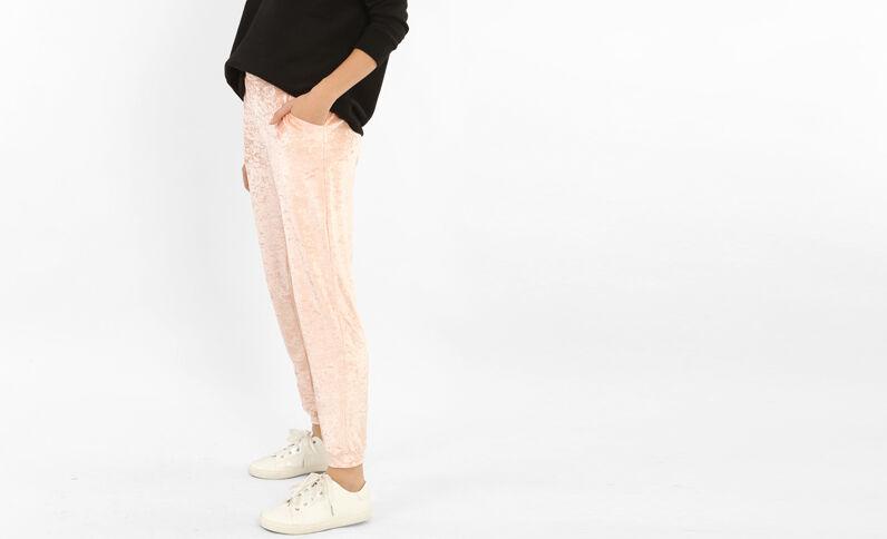 Pantalon de jogging effet velours rose