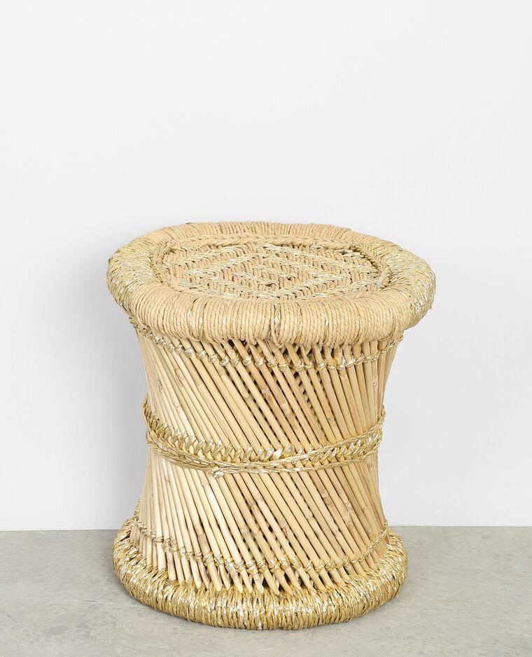 petit tabouret tress en bambou beige 50 904101g06c0g pimkie. Black Bedroom Furniture Sets. Home Design Ideas