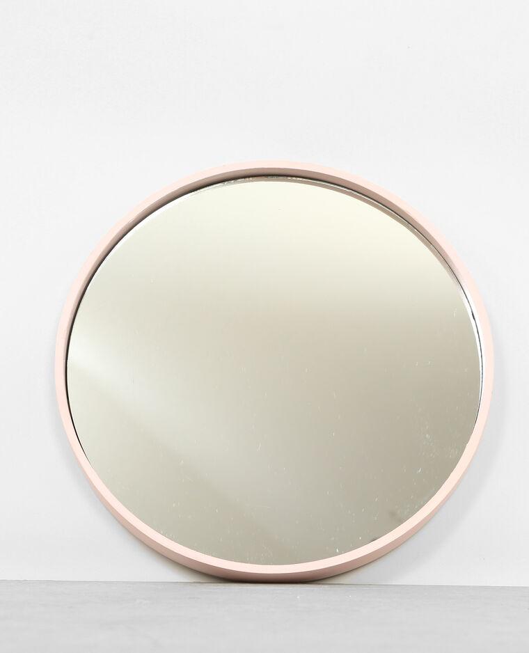 Grand miroir rond rose A02