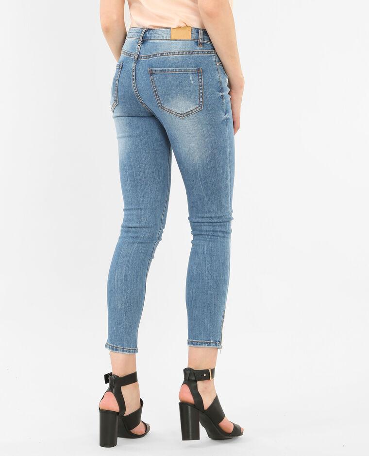 Jean skinny zippé bleu denim