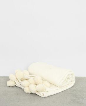 Plaid à pompons blanc