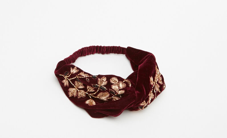 Headband velours broderies et perles rouge