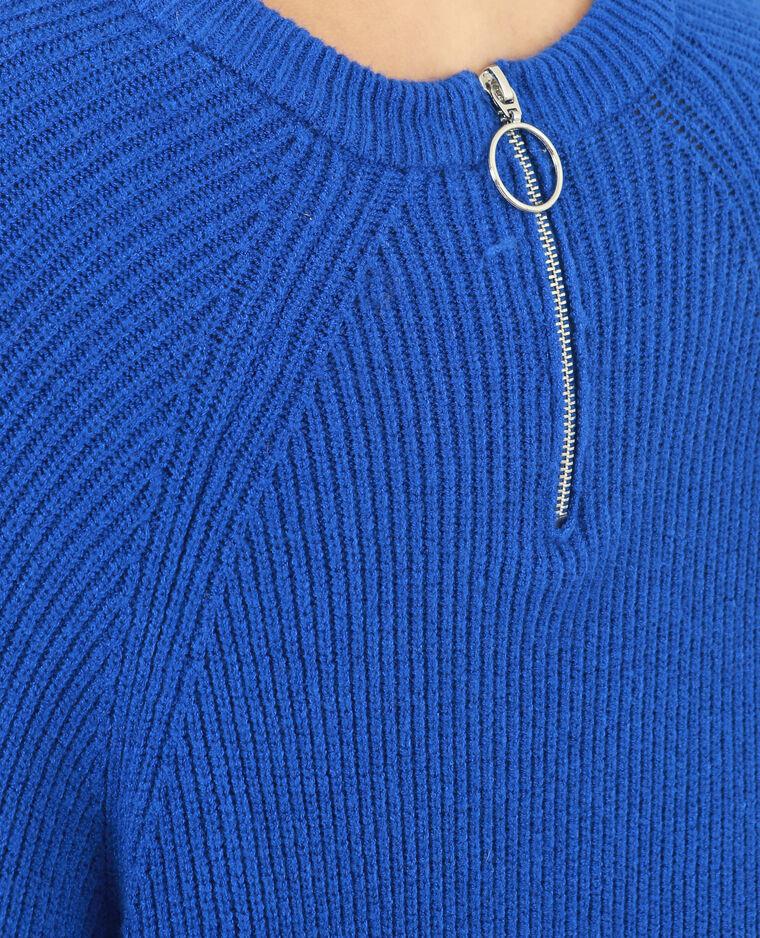 Pull long bleu électrique