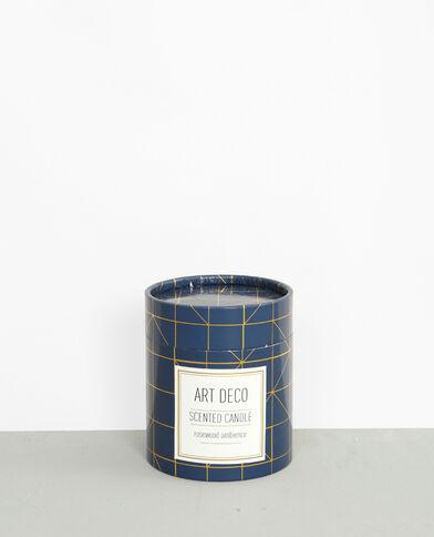 "Bougie parfumée ""Rosewood"" art déco bleu marine"