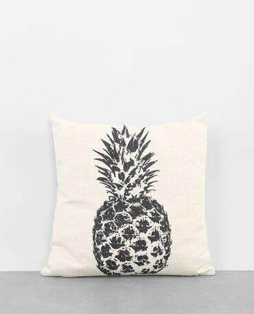 Housse de coussin coton ananas blanc