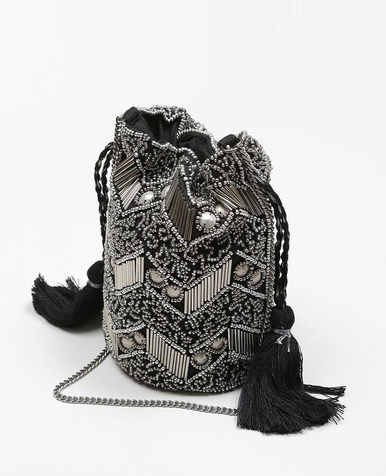 Mini sac brodé perles noir