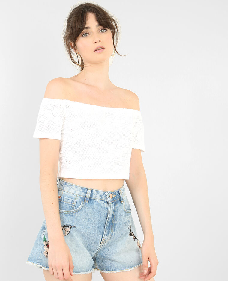 Cropped top vichy noir