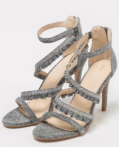 Sandales à brides pailletées gris argenté