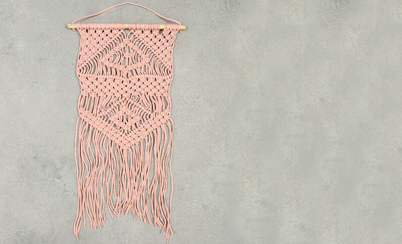 Suspension macramé rose poudré