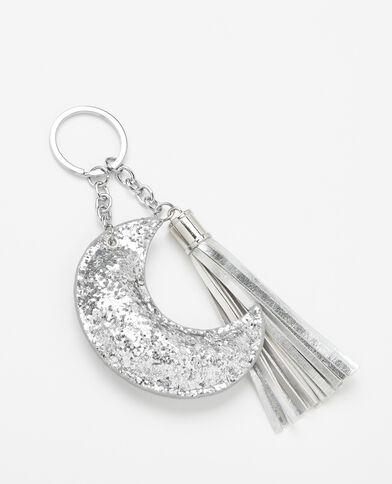 Porte-clés lune et pompons gris
