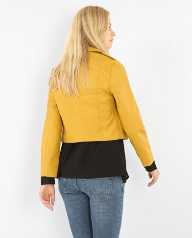 Veste en simili cuir jaune