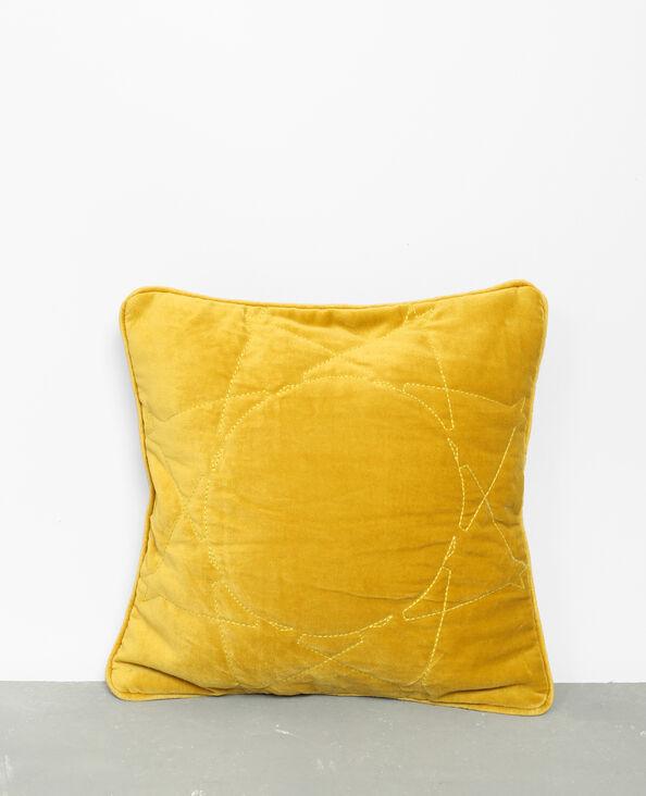 Housse de coussin effet velours jaune