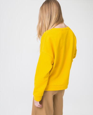Sweat à message jaune moutarde