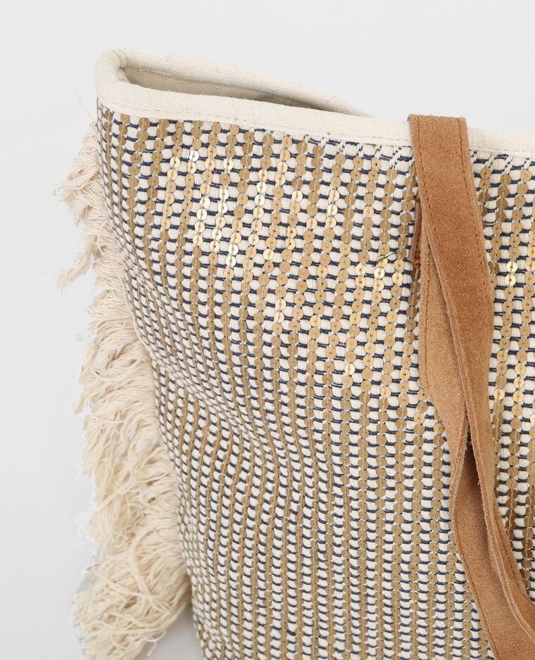 Grand sac cabas sequins blanc