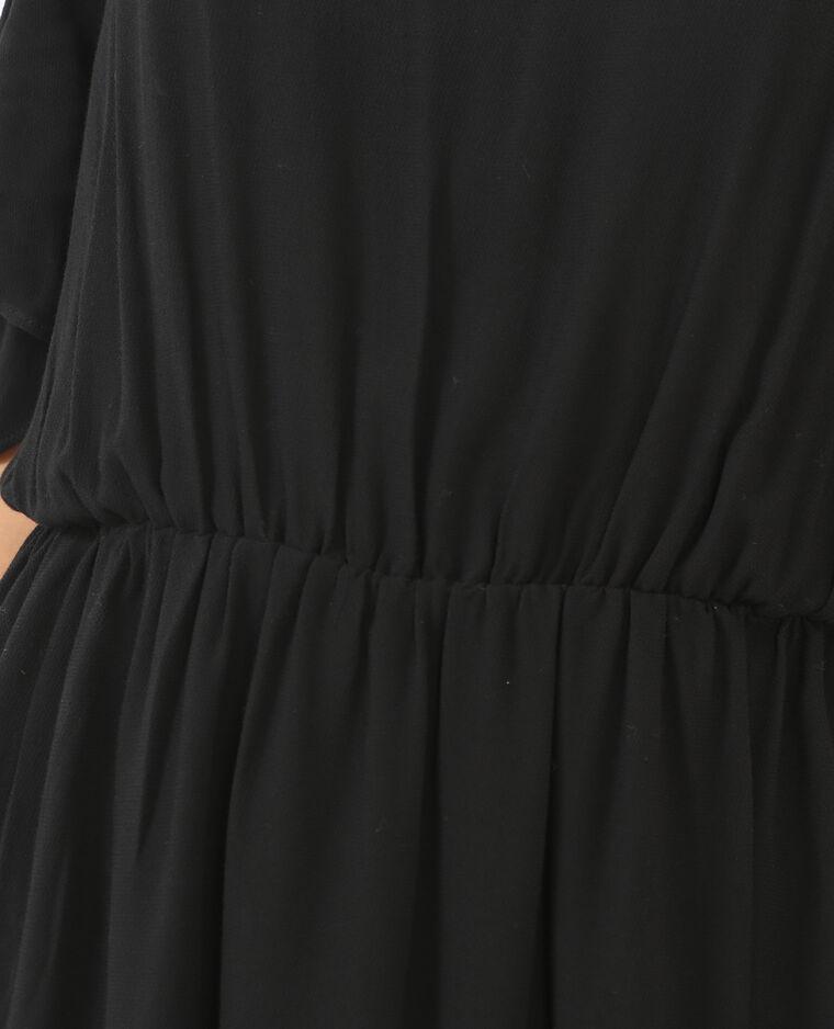 Robe manches peekaboo noir