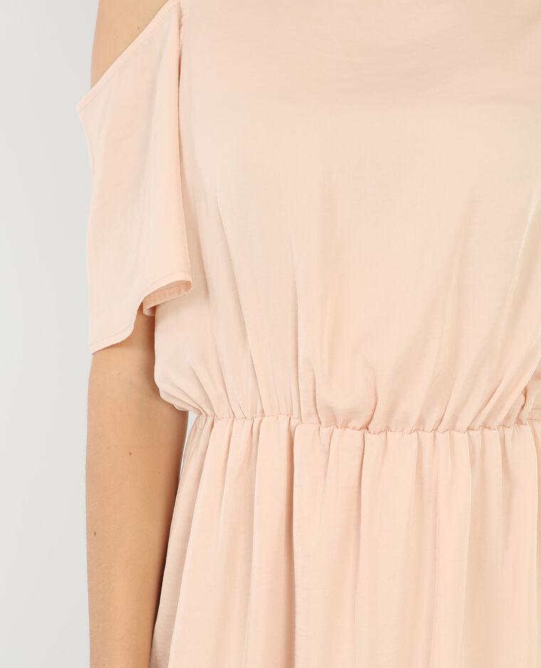 Robe fluide manches peekaboo rose pâle