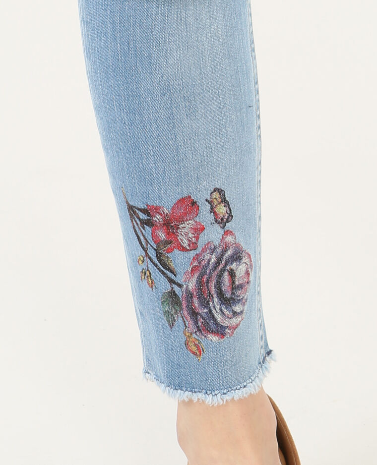 Jean slim imprimé fleuri bleu délavé