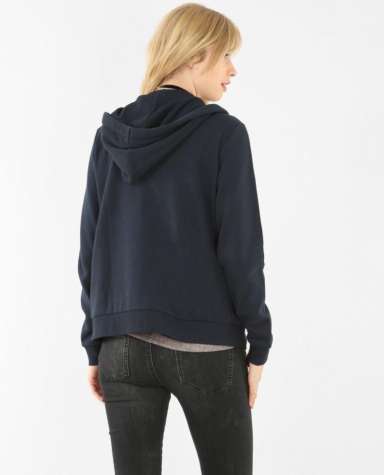 Sweat zippé capuche bleu marine