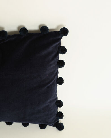 Housse de coussin effet velours bleu