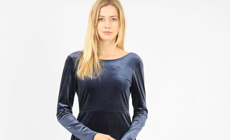 Robe velours bleu marine