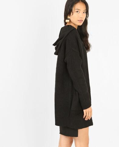 Long gilet à poches noir