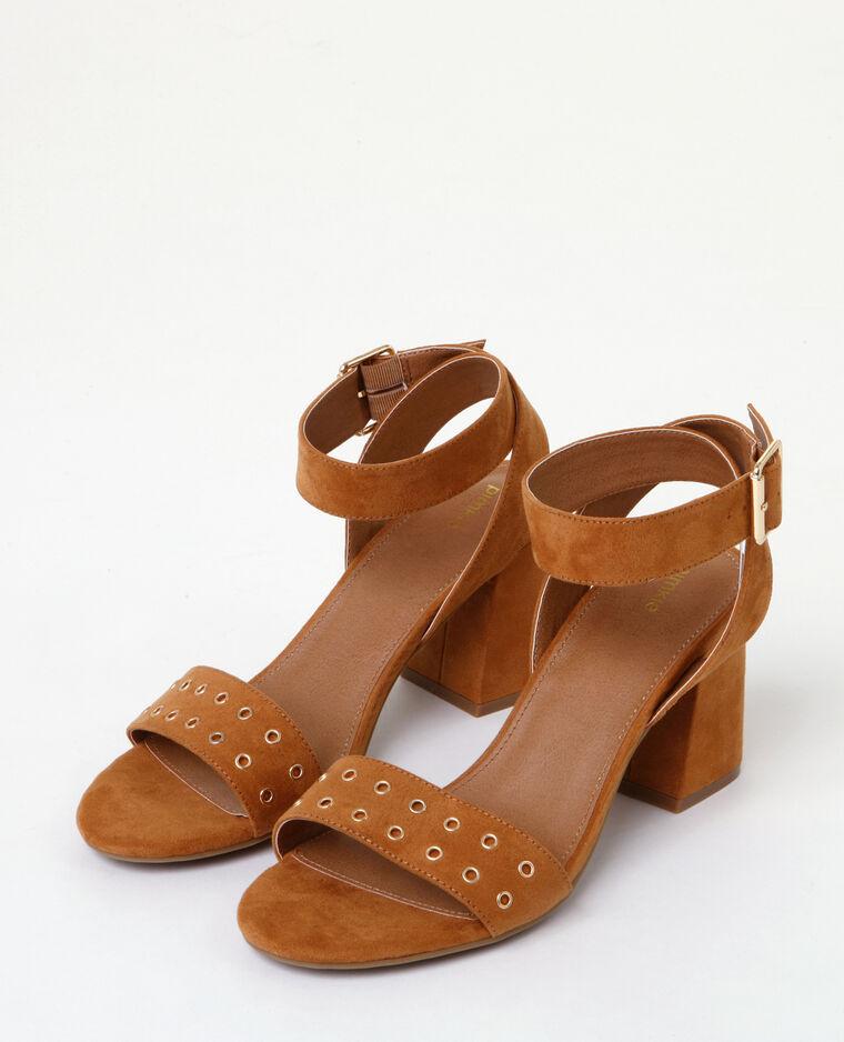 Sandales à talon carré Marron