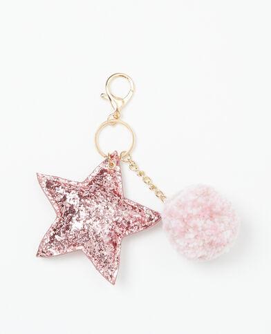 Porte-clés pompon & étoiles rose