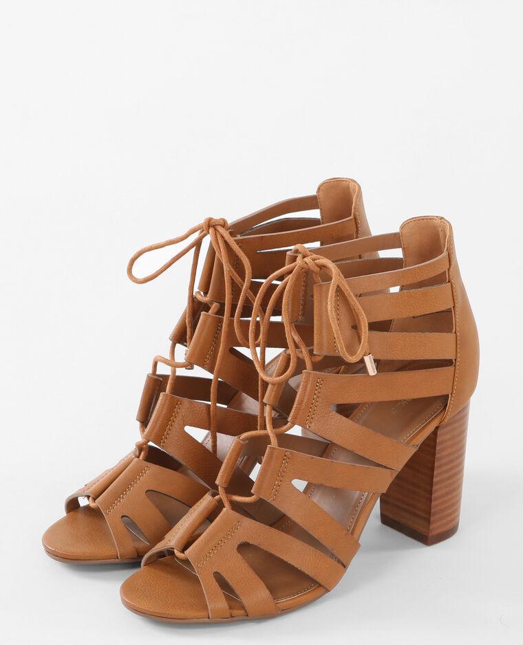 Sandales multibrides à talons Marron